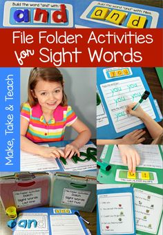 File Folder Activities for Sight Words!  Hands-on activities for learning and practicing sight words.  Great for centers!