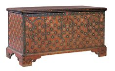 Dower chest with starburst decoration, circa 1780-1800