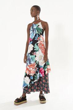 vestido longo maxi chita cubana