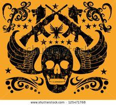 stock vector : tattoo skull and gun vector art
