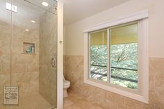 Large, beautiful, new sliding window we installed in this modern master bathroom . Home Remodeling / Renovation / Home Improvement / Replacement window from Renewal by Andersen Long Island Windows, Modern Master Bathroom, Remodeling Renovation, Remodel, Bathroom Windows, Home Remodeling, Andersen Replacement Windows, Renovations, Slider Window