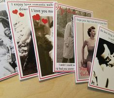 Vintage Inspired Valentine Cards  your choice of design