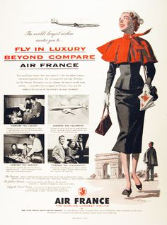 1954 Air France original vintage advertisement. Featuring Super Constellation, Jet Comet, and Jet Viscount service. Illustrated with photos in black & white.