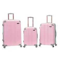 Rockland 3-piece Two-tone Pink Lightweight Expandable Hardside  Spinner Upright Luggage Set | Overstock.com Shopping - The Best Deals on Three-piece Sets