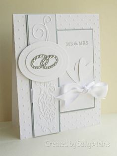 White Wedding Card by ApricotRose - Cards and Paper Crafts at Splitcoastst. White Wedding Card by ApricotRose - Cards and Paper Crafts at Splitcoaststampers. Wedding Day Cards, Wedding Shower Cards, Wedding Cards Handmade, Wedding Anniversary Cards, Wedding Congratulations, Engagement Cards, Embossed Cards, Wedding Card Templates, Wedding Scrapbook
