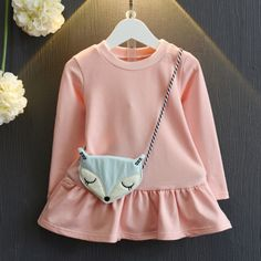 Buy Solid Color Top With Fox Crossbody Bag online with cheap prices and discover fashion Toddler Tops at Popreal.com.