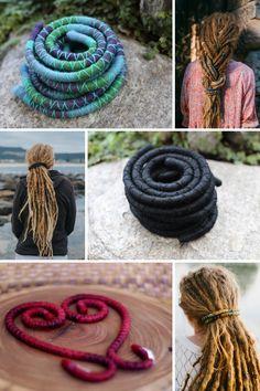 Fun Dreadlock Ties - Handmade Ethical Bendable Dread Ties. #dreadties #spiralocks #spiralock #dreadaccessories #dreadstyles #dreadlockhairtsyle #dreadlockstyle #dreads #dreadlocks #dreadlockhairtie #wooldreads #mountaindreads Rave Hair, Dreadlock Accessories, Bachelorette Favors, Dreadlocks, Crochet Wool, Metal Hair Clips, Dreadlock Hairstyles, Gold Hair, Gold Fashion