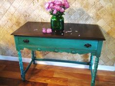love this!!!! stained top with teal and red coming through with the sanding- perfect for my living room