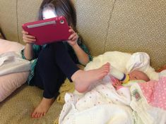 six year old multi-tasker....GIRL Power...LOL!!!