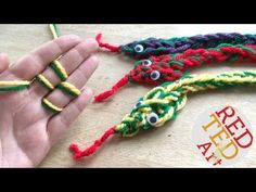 Learn how to combine 2 colours of yarn to make these cute Finger Knitting Snakes. We also show to to increase and decrease Finger knitting stitches. COOL!