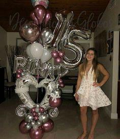 Balloon Columns, Balloon Garland, Balloon Display, Balloon Decorations, Happy 15th Birthday, Sweet 16 Birthday, Valentine Decorations, Birthday Decorations, Ballon Arrangement