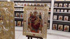 Seriograph icon, Handcrafted & Hand painted with Silver 925 and 22 karat Gold plated, decorated with enamel and Swarovski crystals. Religious Icons, Art Store, Virgin Mary, Christianity, Swarovski Crystals, Hand Painted, Videos, Silver, Home Decor