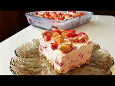 Sweet with strawberries ! Fresh Milk, Strawberry Desserts, Greek Recipes, Jello, Whipped Cream, Vanilla Cake, Tiramisu, Herbalism, Oreo