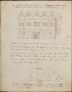 Drawing of Shakespeare's house by George Vertue.