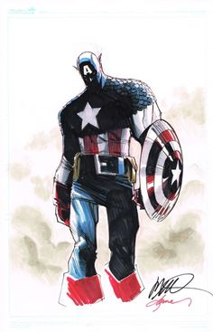 Captain America by Ramos and Martin, in Mike Carithers's Humberto Ramos Comic Art Gallery Room Comic Book Artists, Comic Book Characters, Marvel Characters, Comic Artist, Comic Books Art, Captain America Comic Books, Marvel Captain America, Marvel Heroes, Marvel Comics