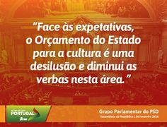 Palavras do Grupo Parlamentar do Partido Social Democrata no Debate do Orçamento do Estado para 2016 na Especialidade com o Ministro da Cultura. #PSD #acimadetudoportugal