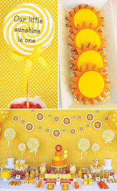 The sunshine cookies here are simple but cute. Sunshine  Lollipops First Birthday Party