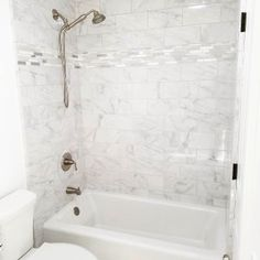 Kohler White Bellwether Collection Three Wall Alcove Bath Tub with Integral Apron and Left Hand Drain Bathtub Shower Combo, Master Bathroom Shower, Small Bathroom, Washroom, Bathroom Tile Showers, Marble Tile Bathroom, Condo Bathroom, Marble Showers, Bathroom Vanities