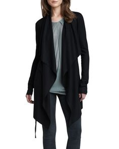 Long Open Cascade Cardigan by Helmut Lang at Bergdorf Goodman.