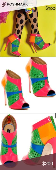"""NWT ALEJANDRA G CLAUDIA HOT PINK PATENT BOOTIE - 7 NWT ALEJANDRA G PATENT BOOTIES - 7. """"CLAUDIA HOT PINK"""" Claudia's"""" adorable peep-toe silhouette in lasered patent leather is a perfect Spring/Summer bootie for heading to lunch with the girls or a night out on the town. Color: Tan Multi / Material: Lasered Patent Leather / Heel Height: 120mm - CURRENT RETAIL: $296 - brand new - no box. See fourth pic to note how the patent does scrunch at toe. This is how these shoes come but want to always…"""