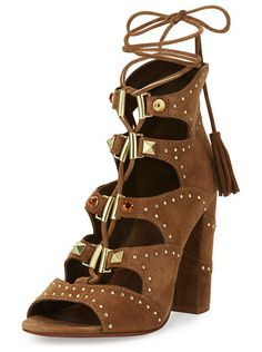 "Alexa Studded Lace-Up Sandal by Ash. Ash suede sandal with studded trim. 4"" covered block heel. Open toe. Lace-up front. Back zip eases dress. Padded foot..."