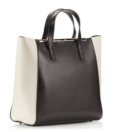 Coccinelle AMY Colorblock black and ivory saffiano leather tote bag