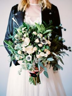 Delicate Organic Bouquet and a Leather Jacket for a Modern Bride | Milton Photography | http://heyweddinglady.com/organic-meets-industrial-edgy-modern-bridal-shoot/