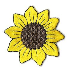 "Sunflower - Garden - Embroidered Iron On Applique Patch ( 2 1/8"" ~ 5.4cm ) #Appliques #Patches"