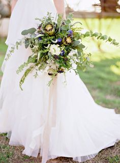 Gorgeous rustic green bouquet: http://www.stylemepretty.com/little-black-book-blog/2015/05/29/rustic-elegant-wedding-inspiration-at-the-dixie-gin/ | Photography: Brandi Smyth - http://brandismythphotography.com/