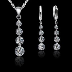 Fashion Bridal Crystal Pendant CZ Sterling Silver Necklace Earrings Jewelry Set