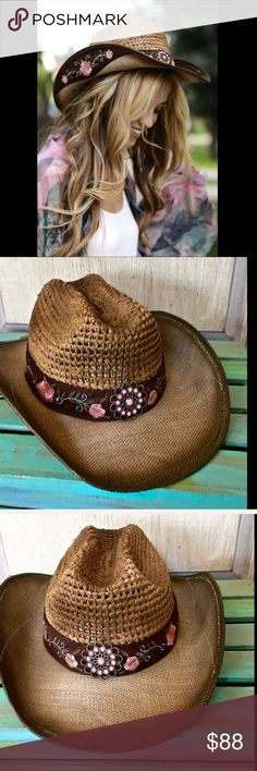 """Olive Pique brown Straw Cowboy  Embroidered Flower Olive & Pique brown Straw Cowboy Rancher Hat with Embroidered Flowers pink, green & olive embroidered roses on the and under the brim antique brass concha on the front * lace up back wire on the inside of the edging for personal adjustments elastic inside for a perfect comfortable fit New With Tags  *  One Size  straw * paper * faux suede  3"""" brim boutique Accessories Hats"""