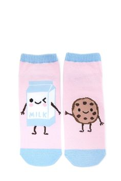 A pair of knit ankle socks featuring a milk carton and a cookie graphic that are reaching for one another on opposite sides and ribbed trim.