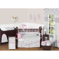 The Kenya Bedding from Sweet Jojo Designs features a modern grey animal print combined with pretty pink and white. This Kenya Crib Bedding Set includes everything you need to set up a beautiful nursery, from a crib blanket to wall hangings.