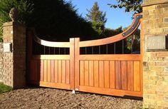 Wooden Gates - Supplied & Installed by H. Paynter Gates Ltd Wood Fence Design, Front Gate Design, Door Design, Front Gates, Entrance Gates, Driveway Landscaping, Driveway Ideas, Driveway Entrance, Electric Gates