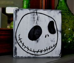 Jack Skellington Custom Wood Sign, Halloween Decor, Nightmare Before Christmas, Home Decor. $10.00, via Etsy.