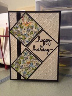 Happy Birthday - Happy Birthday -You can find Happy and more on our website. Masculine Birthday Cards, Handmade Birthday Cards, Happy Birthday Cards, Greeting Cards Handmade, Bday Cards, Embossed Cards, Stamping Up Cards, Card Patterns, Card Tutorials