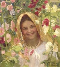 Portrait of a young girl surrounded by flowers By Fedot Vasilievich Sychkov
