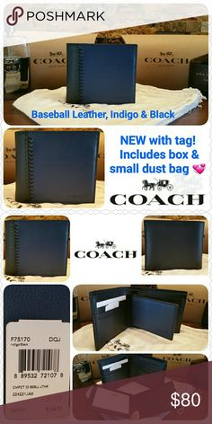 "NEW Coach Baseball Stitch Wallet w/ passcase NEW w/ tag & Coach gift box/tissue * Style F75170, retail $185 * Coach Compact ID Wallet, bi-fold 3-in-1 * Baseball Stitch, Smooth Leather  * Color: INDIGO & BLACK   * 8 slots & 2 slip pockets * 2 full bill compartments * Size:  4 1/2"" x 3 3/4"" * Removable passcase w/ ID window & 2 card slots  * GUARANTEED authentic as I purchase directly from Coach  * Price is FIRM unless bundling  * Non-smoking home of Aurora33180 * Sorry, no trades Coach Bags…"
