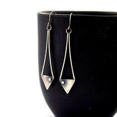 Sterling Silver Earrings, Geometric Earrings, Oxidized Silver Jewelry, Long Earrings, Statement Earrings, Triangle Earrings