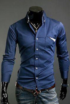 Fashion Style Shirt Collar Special Pocket Long Sleeves Polyester Shirt For Men (DEEP BLUE,XL) | Sammydress.com