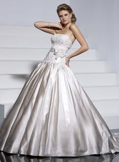 Ball Gown Tube Long Satin Wedding Dress    little big for me at the bottom but other than that i like it