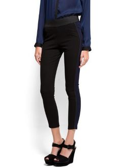 Mango Women's Contrasted Line Leggings - Amazona, Black, M MANGO. $24.99. Do not bleach, Ironing max 110°c / 230ºf, Do not dry clean, Do not tumble dry, Hand washing max 30°c / 85ºf. 68% viscose; 27% polyester; 5% elastaneSides: 95% polyester; 5% elastane. Can't be combine with any other offer, discount or promotion. Shipping promotions still apply.