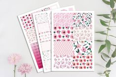 Floral Printable Planner Stickers Cut Files by Crazyforplanners
