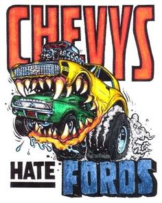 Impresionante ☮ Art by Ed Roth ~ Rat Fink! Rat Fink, Weird Cars, Cool Cars, Ed Roth Art, Cool Car Drawings, Monster Car, Ranger, Garage Art, Car Humor
