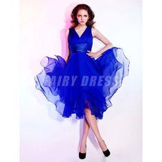 Femme robe de cocktail bleu royal col en v en mousseline Modèle: PHBG1257  Disponibilité : En stock €70,48