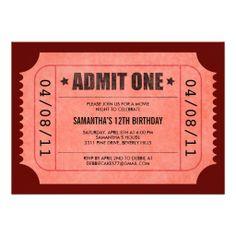 backyard movie night? Red Admit One Ticket Invitations