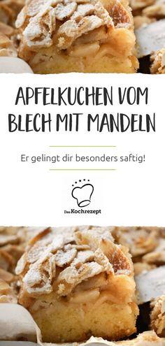 Unser Rezept für saftigen Apfelkuchen vom Blech mit Mandeln ist perfekt für jeden Sonntag! Der leckere Rührteig mit Joghurt, darauf die Apfelstückchen mit Mandeln und Zimt, duftet einfach herrlich, wenn er aus dem Ofen kommt. Veggies, Food And Drink, Low Carb, Cookies, Baking, Ethnic Recipes, Desserts, German Recipes, Recipes