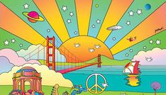 New York artist Peter Max shared the official Outside Lands poster he created for the fest this year, a psychedelic motif featuring one of Golden Gate Park's iconic windmills the Palace of Fine Arts and the Golden Gate Bridge.