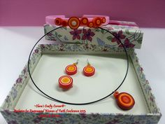 Lollipop sets of Quilling paper Jewelry.  Comes with earrings, ring, pendant & headband.