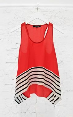 Contrast Stripe Tank $55 #preorder #stripes #4thofjuly (http://www.swankboutiqueonline.com/contrast-stripe-tank-in-red/)